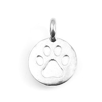 Charm -   Round silver paw