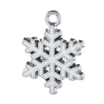 Charm   Enameld Snowflake white