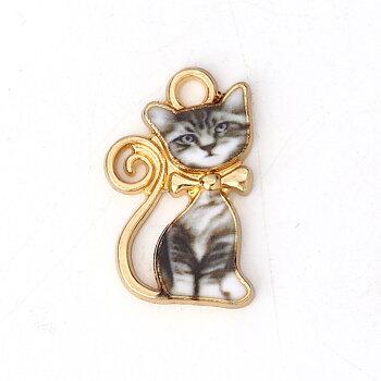 Berlock -  Emaljerad Katt, grå