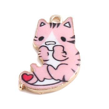 Berlock -  Emaljerad Katt, Rosa