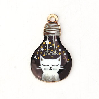 Berlock -  Emaljerad Katt i glödlampa