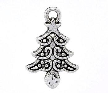 Charm   Christmas tree silver