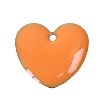 Charm   Enameld heart 16mm,  Orange