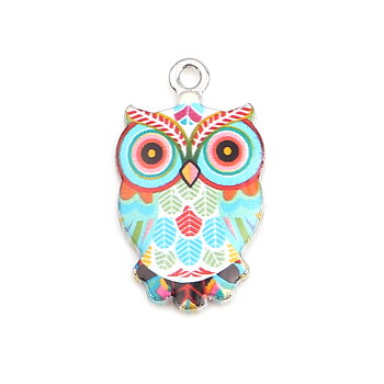 Charm   enameld  owl retro blue red