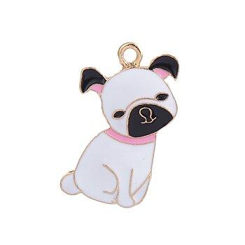 Berlock -  Emaljerad hund Vit