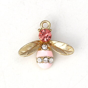 Charm   Enameld Bee w. rhinestone, Pink