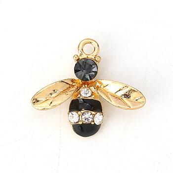 Charm   Enameld Bee w. rhinestone, Black