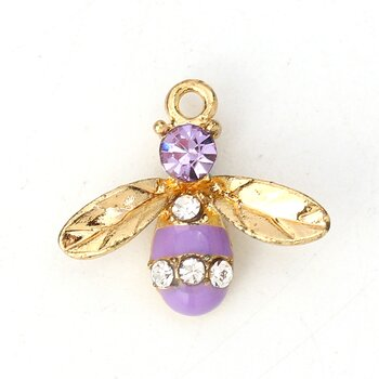 Charm   Enameld Bee w. rhinestone, Purple