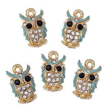 Charm   Enamel owl w rhinestone blue