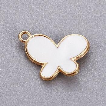 Charm   Enamel Butterfly, White