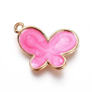 Charm   Enamel Butterfly,  Pink