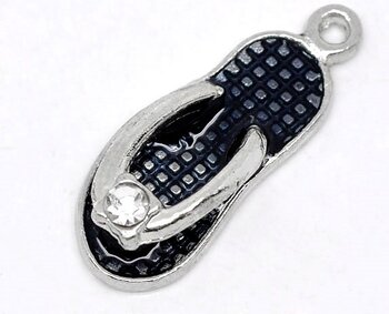 Charm   Enamel Shoe w rhinestone, black