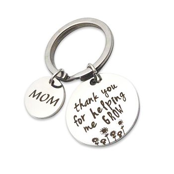"Key clasp ring Chains & Key  ""MOM Thank you for helping me grow""  stainless steel"