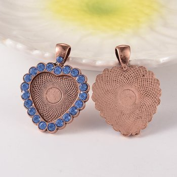Cabochon Setting / Charm Copper, rhinestone Heart blue