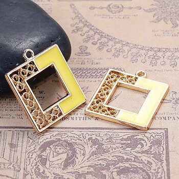 Charm   Enamel Square  Yellow