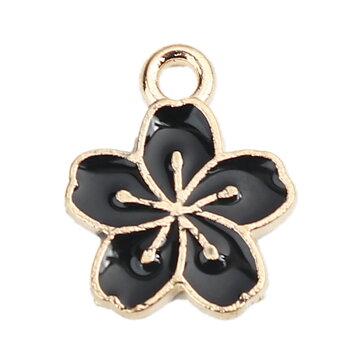 Berlock -  Emaljerad blomma, svart