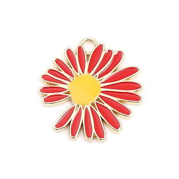 Berlock -  Emaljerad blomma, Daisy / Prästkrage, Röd