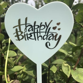 Cake Topper, acrylic, Happy Birtday, Heart, blue