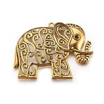 Berlock - Stort hänge, Elefant, antikguld