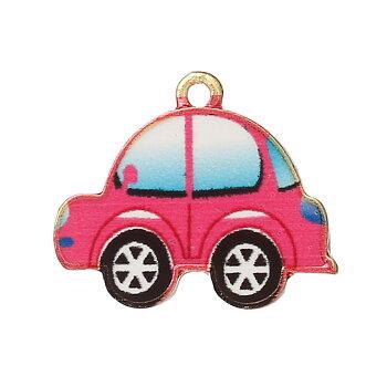 Berlock -  Emaljerad bil, rosa