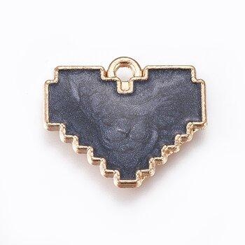 Berlock - Emailjerat pixlat hjärta, svart marmor