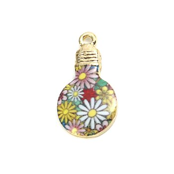 Berlock -  Emaljerad glödlampa med blommor