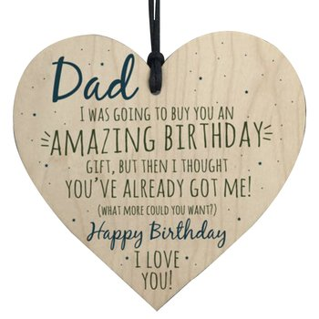"Wood hanging heart,""Dad... Birthday.. """