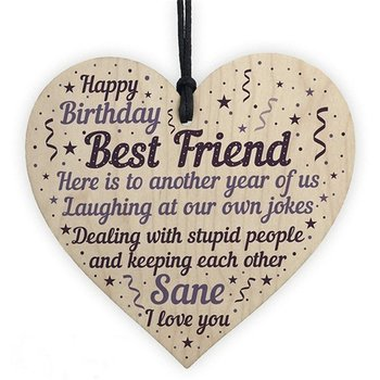"Wood hanging heart , ""Happy birthday,Best Friend....."""