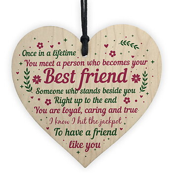 "Wood hanging heart ,""Once in a lifetime..Best Friend....."""