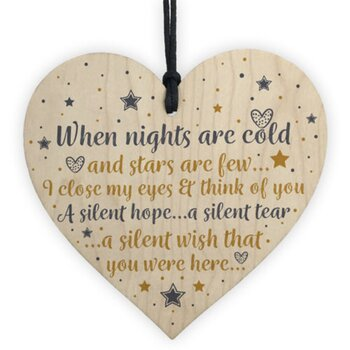 "Wood hanging heart , ""When nights are cold....."""