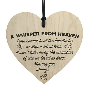 "Wood hanging heart ,""A whisper from heaven....."""