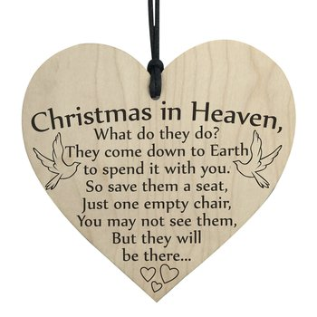"Wood hanging heart , ""Christmas in heaven...."""