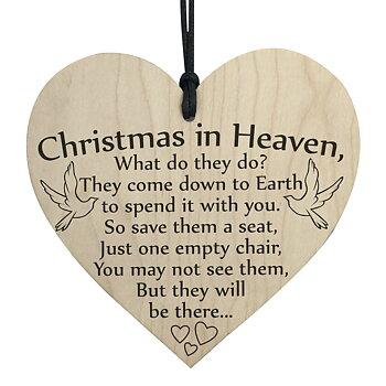 """Trätavla Hjärta """"Christmas in heaven...."""""""
