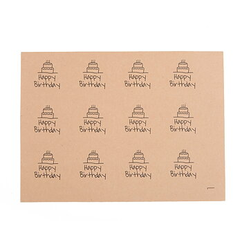 "Etikett ""Happy Birthday"",  20pcs, brown"