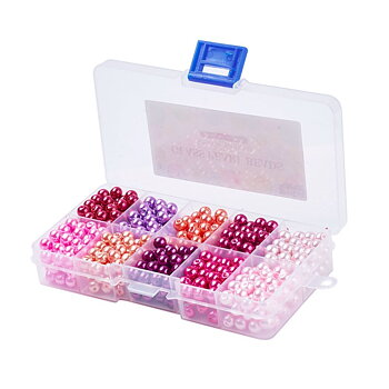 Beadmix in container, 6mm 600pcs Pearl bead, Pink