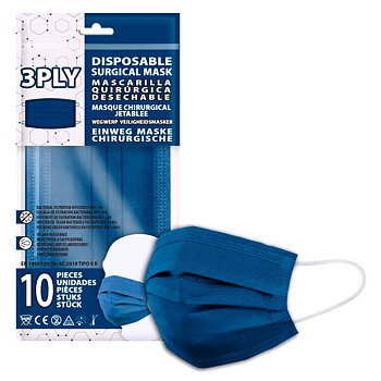 Navy Blue pack 10 disposable surgical masks