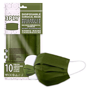 Green pack 10 disposable surgical masks