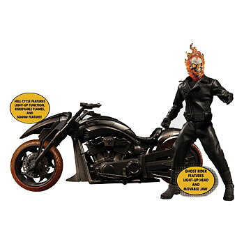 Ghost Rider Actionfigur & Vehicle with Sound & Light Up 1/12 Ghost Rider & Hell Cycle
