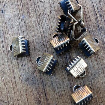 Ändfäste platta band Bronsfärgad -  Bredare modell, 6 mm, 10- pack
