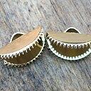 Ändfäste platta band guldfärgad -  Rund modell med taggar, 15 mm, 2- pack