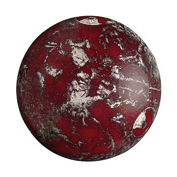 Cabochon par Puca® - Opaque Coral Red New Picasso 25 mm, 1 styck