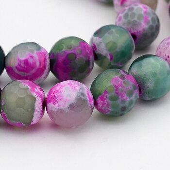 Agat - Facetterad grön / rosa 10mm 1 sträng