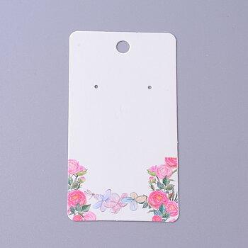 Örhänges kort - Vita med blommor  10- pack