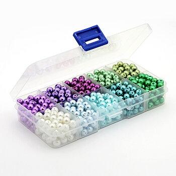 Glaspärlor Vaxade - Mix Lila/Blå/Grön i ask 6mm, 1 styck