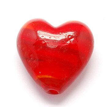 Lampwork hjärta - Randig röd, 20mm, 1 styck
