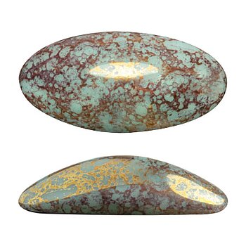 Athos® par Puca® - Opaque Light Green Turquoise Bronze 20x10mm, 1 styck