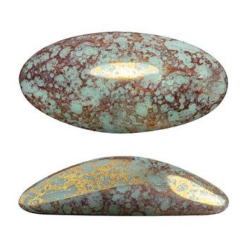 Athos® par Puca® - Opaque Light Green Turquoise Bronze 20x10mm, 1 styck