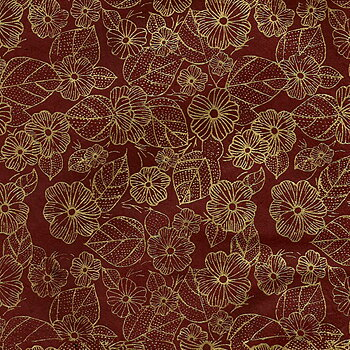 Flower/leaves print, aubergine