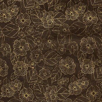 Flower/leaves print, brown