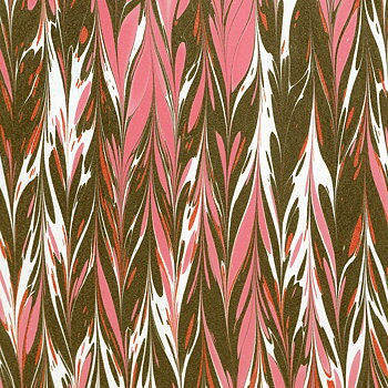 Handmarmorerat, dubbelkam, svart/rosa/vit/röd